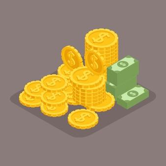 Мода изометрические объекты. большая куча денег. сотни долларов. золото, деньги, счета. доллары, драгоценный мане, выигрыш изолирован