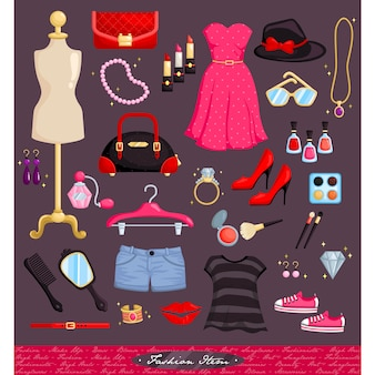 Fashion items vector set
