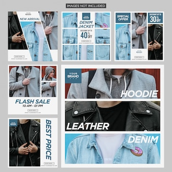 Fashion jacket social media instagram post design template premium vector