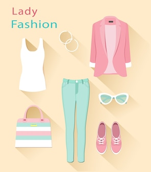 Of fashion look. woman clothing set. trendy clothes objects