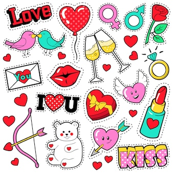 Набор значков моды любви с патчи, наклейки, губы, сердца, поцелуй, помада в стиле комиксов поп-арт. иллюстрация
