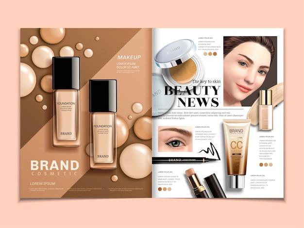 3d 일러스트레이션의 우아한 모델이 있는 패션 잡지 템플릿, 파운데이션 및 컨실러 광고