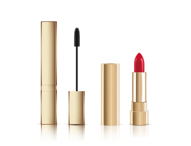 Fashion make-up gold lash mascara tube with brush and lipstick.