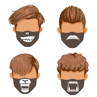 Fashion mask set. halloween fashion. style masks for men.