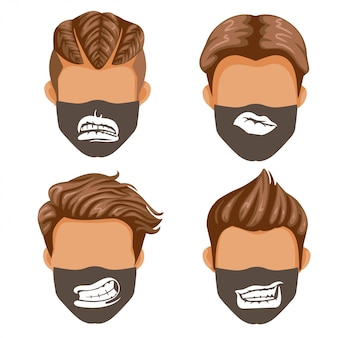Fashion mask set. mouth or lips collection. fashion for men black and white print pattern on fabric.