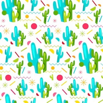 Fashion memphis bright seamless pattern with cactus