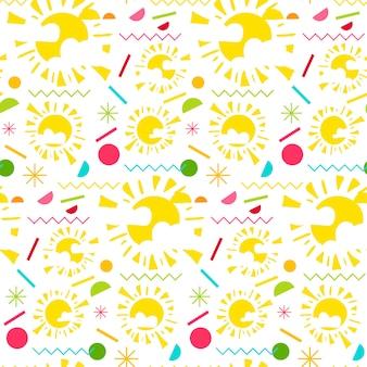 Fashion memphis bright seamless pattern with sun