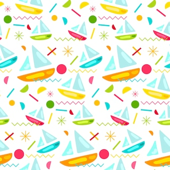 Fashion memphis bright seamless pattern with yacht