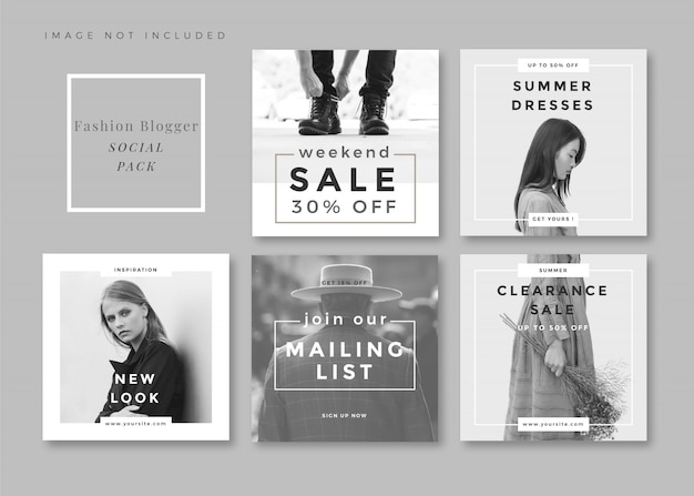 Fashion minimalist clean and simple square social media template