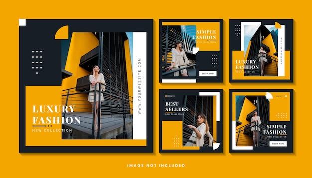 Fashion minimalist social media post template collection