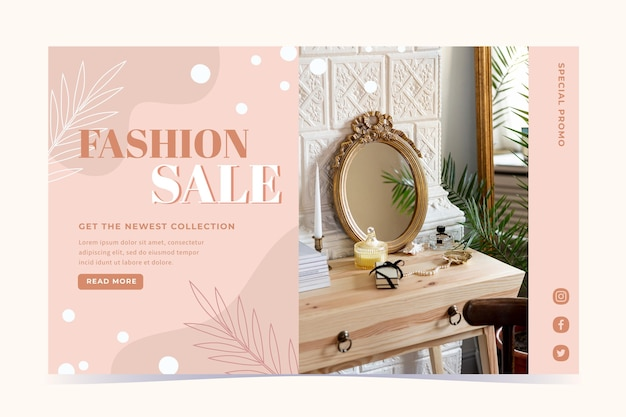 Fashion mirror sale landing page web template