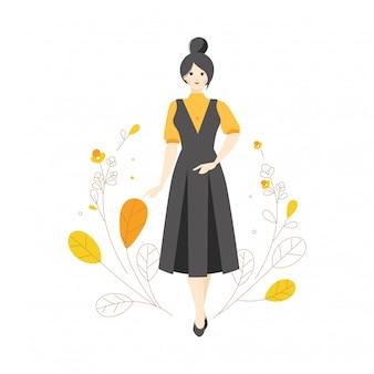 Мода модель персонажа стиль позы цветок ботаническая иллюстрация носить комбинезон старинные платья