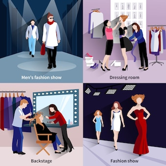 Fashion model concept set with catwalk and backstage flat icons
