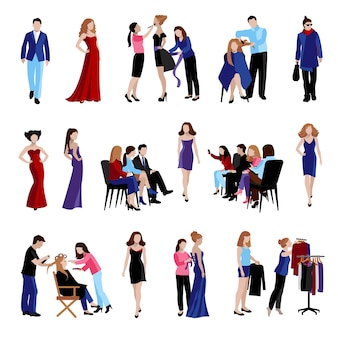 Fashion model flat icons set