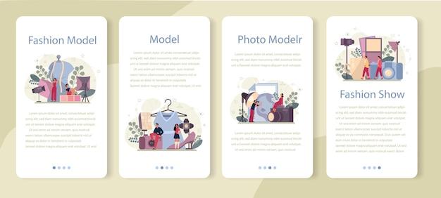 ファッションモデルのモバイルアプリケーションのバナーセット。男性と女性は、ファッションショーや写真撮影で新しい服を代表しています。ファッション業界の労働者。孤立したベクトル図