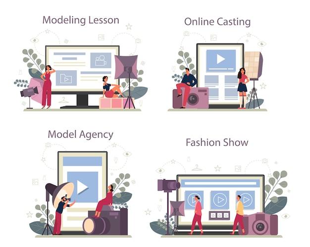 ファッションモデルのオンラインサービスまたはプラットフォームセット。男性と女性は新しい服を表しています。モデリングビデオレッスン、オンラインキャスティング、モデルエージェンシーのウェブサイト、ファッションショー。孤立したベクトル図