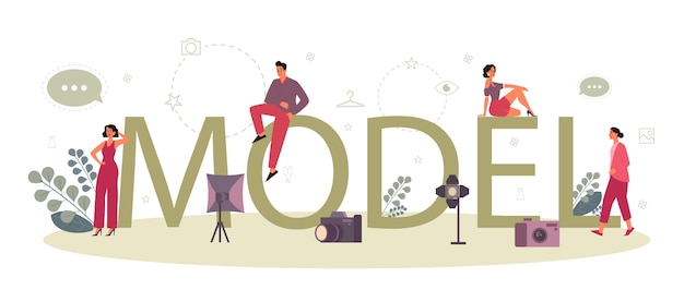 Fashion model typographic header concept. man and woman represent new clothes at a fashion show and photoshoot. fashion industry worker. isolated vector illustration