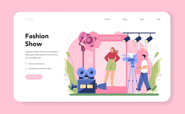 Fashion model web banner or landing page. man and woman represent new clothes at a fashion show on a runway and photoshoot. fashion industry worker. isolated vector illustration