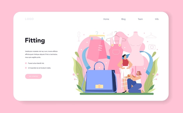 Fashion model web banner or landing page man and woman represent