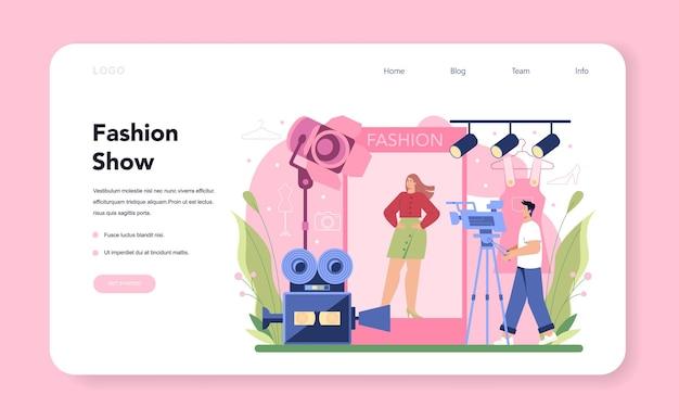 ファッションモデルのウェブバナーまたはランディングページ。男性と女性は、滑走路と写真撮影のファッションショーで新しい服を表しています。ファッション業界の労働者。孤立したベクトル図