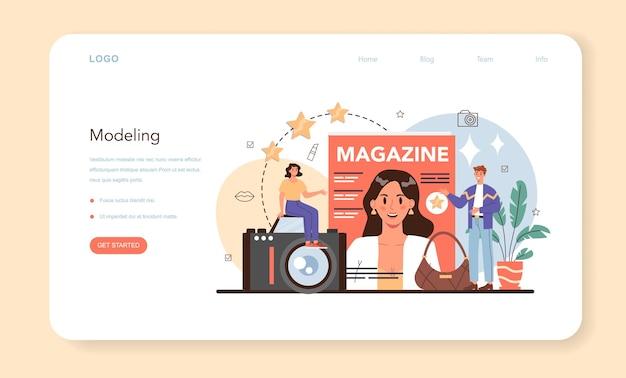Фотомодель веб-баннер или целевая страница мужчина и женщина представляют