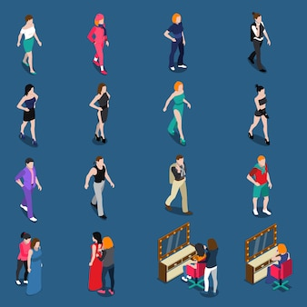 Fashion models isometric set