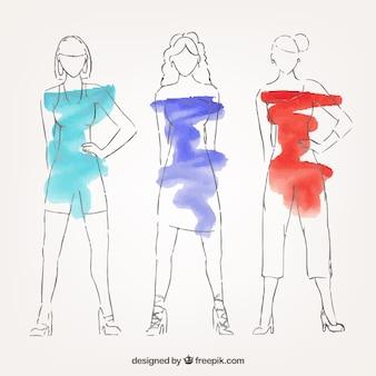 Modelli di moda dipinte con acquerelli