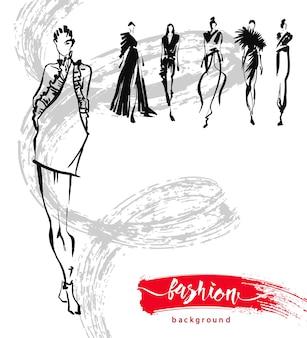 패션 모델 스케치 손으로 그린, 양식에 일치시키는 실루엣 절연. 벡터 패션 일러스트 레이 션을 설정합니다.
