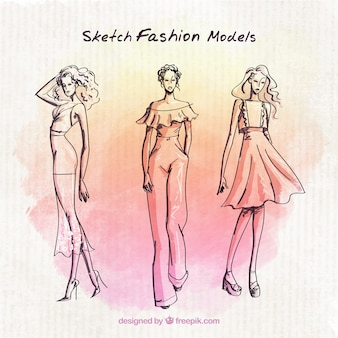 Fashion models sketches with watercolor background