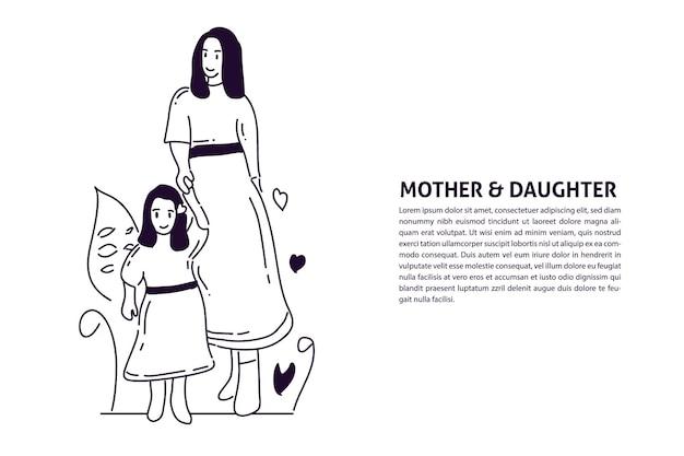 Мода мать и дочь handdrawn иллюстрации