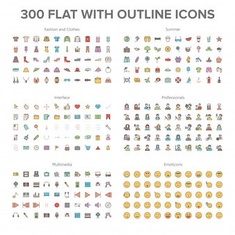 Fashion, multimedia, summer, professionals and emoticons 300 flat with outline icons bundl