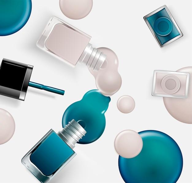 3d 그림, 파란색과 회색 톤의 액체가 떨어지는 테이블에 누워 패션 네일 래커