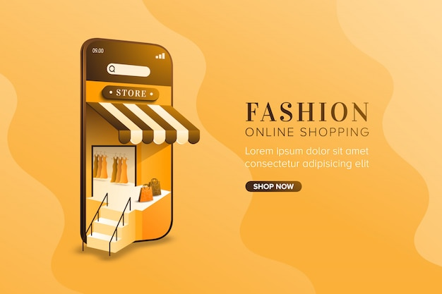 Fashion online shopping concept on mobile background