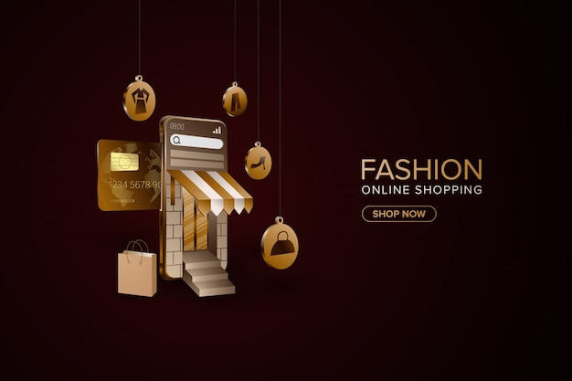 Fashion online shopping with smartphone background