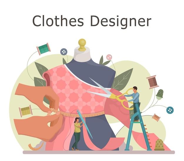 패션 또는 의류 디자이너 개념. 작은 재단사는 옷을 바느질하고 마네킹으로 작업합니다. 플랫 스타일