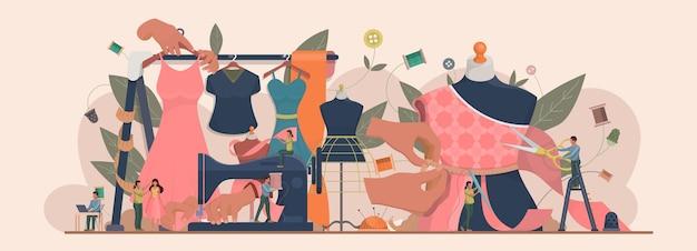패션 또는 의류 디자이너 개념