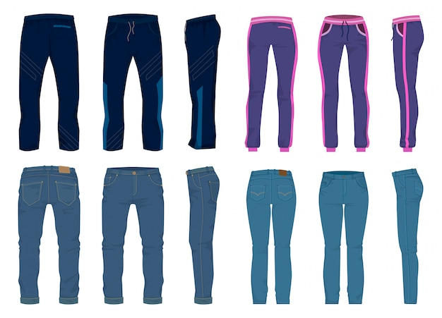 Fashion pants isolated cartoon set icon. cartoon set icon jean. illustration fashion pants on white background.