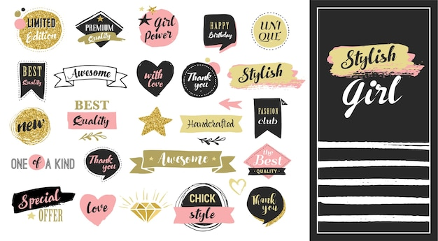 Fashion patch badges and stickers, labels and sale tags. gold hearts, speech bubbles, stars and other elements.