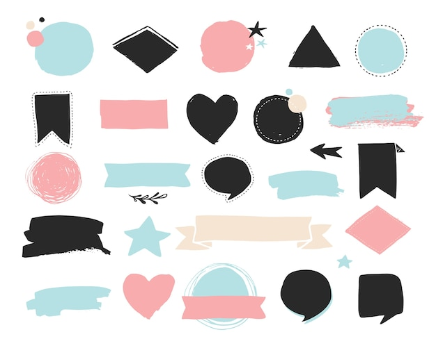 Fashion patch badges and stickers, labels and sale tags. gold hearts, speech bubbles, stars and other elements. Premium Vector