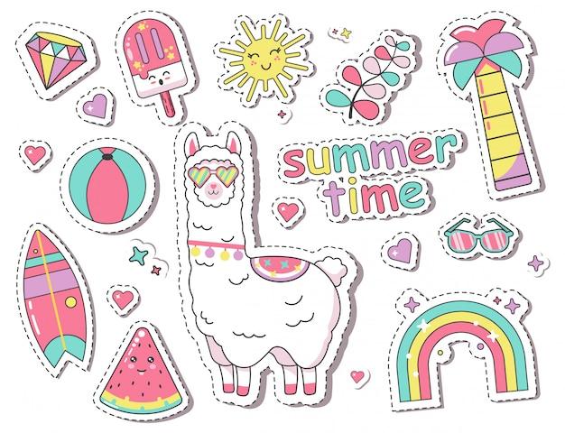 귀여운 라마, 무지개가있는 패션 패치 배지 스티커
