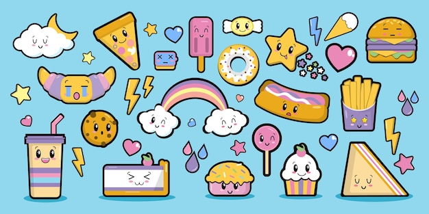 Fashion patch badges sweets with eyes in kawaii style elements