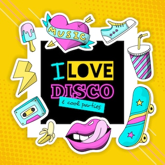 Fashion patch cool disco composition poster