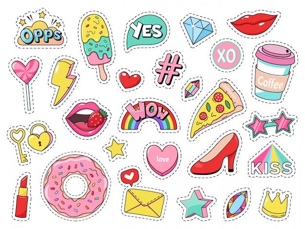 Модные заплатки. шуточные значки девушки doodle, подростковые милые стикеры шаржа с смешной едой, пицца и донут, красные губы и комплект иллюстрации самоцветов. современная ткань 90-х годов каваи этикетки