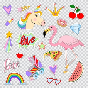 Fashion patches and stickers with unicorn, flamingos, rainbow, lip, lipstick, roller skates, star, hearts and etc. vector cartoon comic icons set isolated Premium Vector