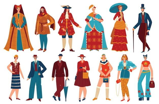 Fashion people in history vintage costume vector illustration set, cartoon flat fashionable clothing style evolution collection