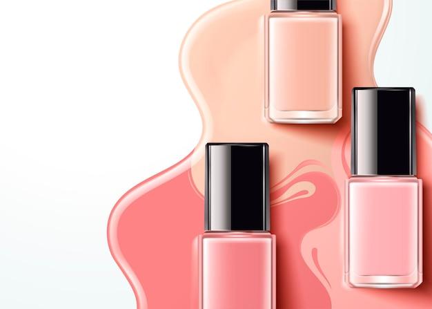 플랫 레이 각도, 3d 일러스트 패션 핑크 네일 래커 제품