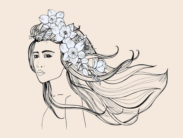 패션 초상화입니다. 긴 흐르는 머리를 가진 아름 다운 소녀입니다. 컨투어 손으로 그린 그림입니다.