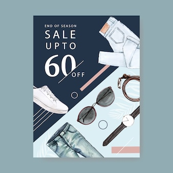 Fashion poster design with jeans, watch, belt, sunglasses, shoes watercolor illustration.