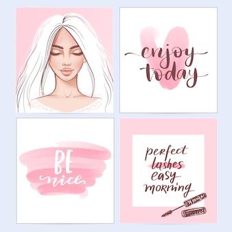 Модные плакаты с положительными цитатами.