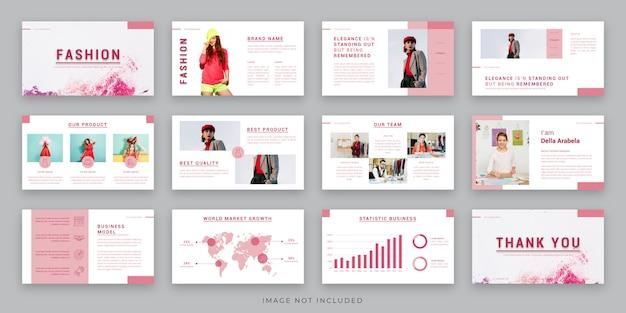 Infographic 요소를 사용한 패션 프레젠테이션 레이아웃 디자인
